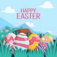 Cute Easter Egg Background vector