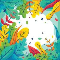 Nature with Colorful Leaves Border vector