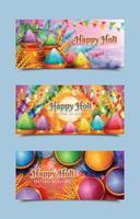Happy Holi Banner Templates vector