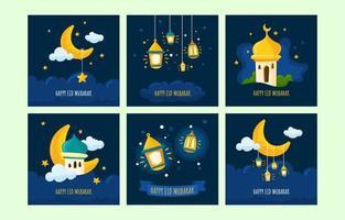 Eid Mubarak Social Media Posts vector