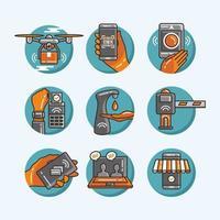 Cute UNTACT Digital Life Icon Set vector