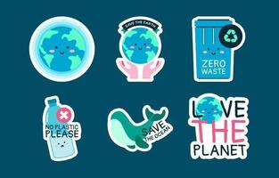 Earth Day with Cartoon Character Sticker Collection vector