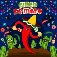 Cinco De Mayo Festival with Chili Character vector