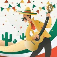 los hombres tocan la guitarra en el desfile del cinco de mayo vector