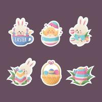 Set of Easter Cute Bunny and Egg Sticker vector