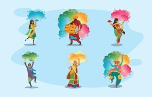 personajes de trajes tradicionales de la india en la celebración holi vector