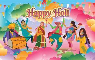 concepto de celebración feliz holi vector