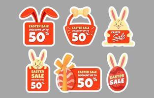 etiquetas de venta de pascua con lindo icono vector