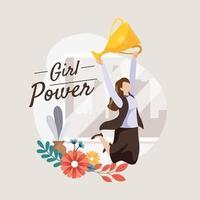 Success Business Women Hold Trophy Concept