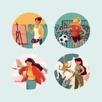 conjunto de iconos de mujer profesional independiente vector