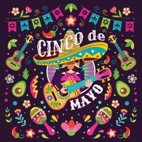cinco de mayo concepto de mariachi mexicano vector
