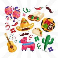Cinco De Mayo Icon Set vector