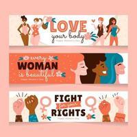 concepto de banner de igualdad de mujeres vector