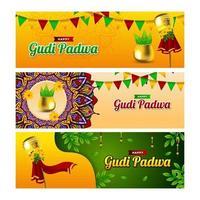 colección de pancartas de gudi padwa vector