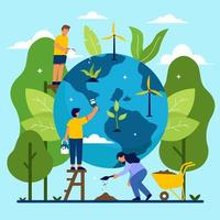 Save our Planet with Humans vector
