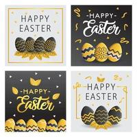 Happy Easter Card with Gold and Black Color