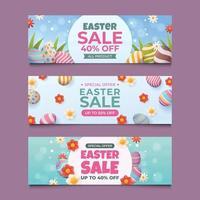 Set of Horizontal Easter Egg Banner With Flower vector