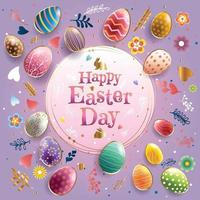 Happy Easter with Colorful Easter Eggs Concept vector