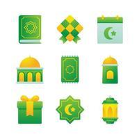 Season Greeting Eid Al Fitr Icon Set