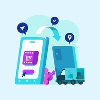 Transferencia de datos de teléfonos inteligentes en el proceso de compra en línea vector