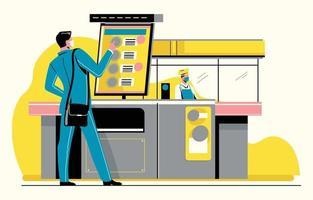 Man Using TFT LCD Monitor to Order Food vector