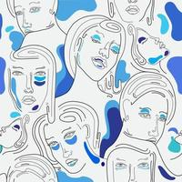 One Line Art Seamless Pattern Woman in Blue vector