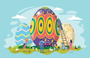 People Decorating Easter Eggs vector