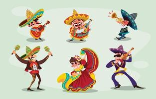 concepto de personajes mexicanos cinco de mayo vector