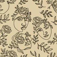 One Line Drawn Flower Face Seamless Pattern vector