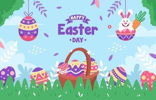 Cute Happy Easter Day Concept vector