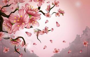 fondo de flores de cerezo vector