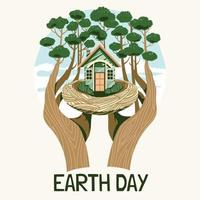 Humans Take Care of Earth Concept vector