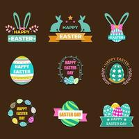 Flat Easter Day Label Collection vector