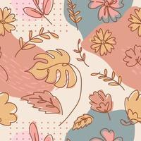 One Line Art Floral Seamless Pattern vector