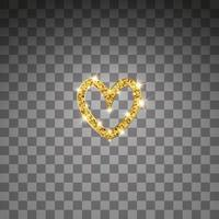Gold glitter vector heart. Golden sparkle St. Valentines day card. Luxury design element. Amber particles background.
