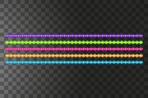 Various LED stripes on a black background, glowing LED garlands vector