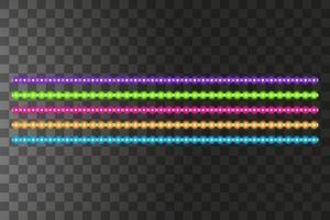 Varias rayas de LED sobre un fondo negro, guirnaldas de LED brillantes. vector