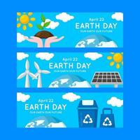 Earth Day Banner Collection in Flat Design vector
