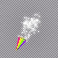White party popper with exploding confetti particles isolated background. Dotted paper cone with sparkling stars. Festive or magic decoration. Vector holiday illustration.
