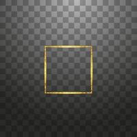 Gold shiny glowing vintage frame isolated background. Golden luxury realistic rectangle border. Vector illustration