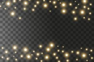 The dust sparks and golden stars shine with special light. Vector sparkles background. Christmas light effect. Sparkling magical dust particles.
