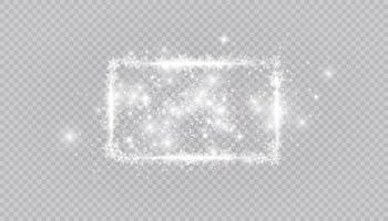 Rectangular winter snow frame border with stars, sparkles and snowflakes background. Festive christmas banner, new year greeting card, postcard or invitation vector illustration