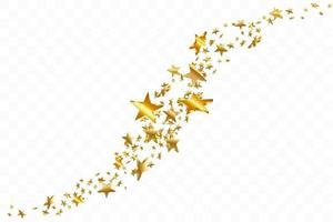 3d Star Falling. Gold Yellow Starry background. Vector Confetti Star Background. Golden Starlit Card. Confetti Fall Chaotic Decor.