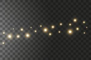 The dust sparks and golden stars shine with special light. Vector sparkles on a background. Christmas light effect. Sparkling magical dust particles.