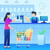 Contactless Electronic Paying Supermarket vector
