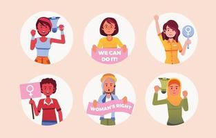 día internacional de la mujer 8 conjunto de pegatinas de diversidad pastel vector