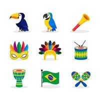 Icons of Rio Carnival Collection vector
