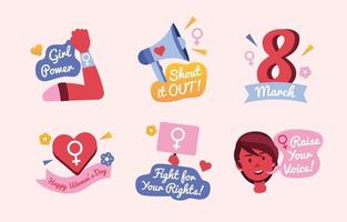 International Women's Day 8 March Activism Pink Icon Set vector