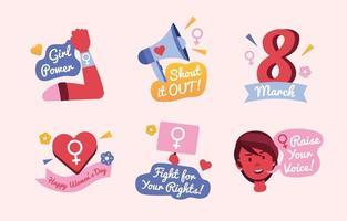 International Women's Day 8 March Activism Pink Icon Set