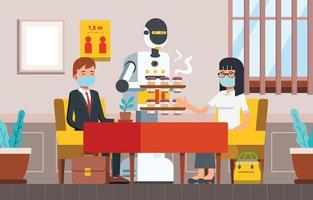 People Take Coffee from Robot Waiter in Coffeeshop vector